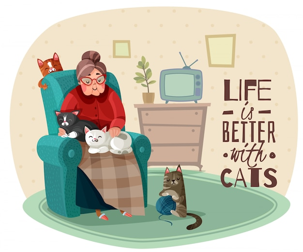Dame in armchair cats illustration Kostenlosen Vektoren