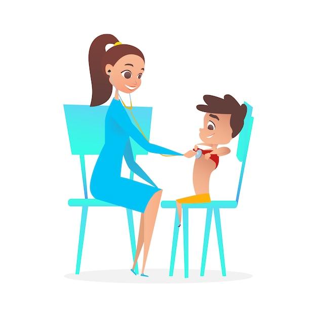 Dame pediatrician doctor examining boy patient. Premium Vektoren