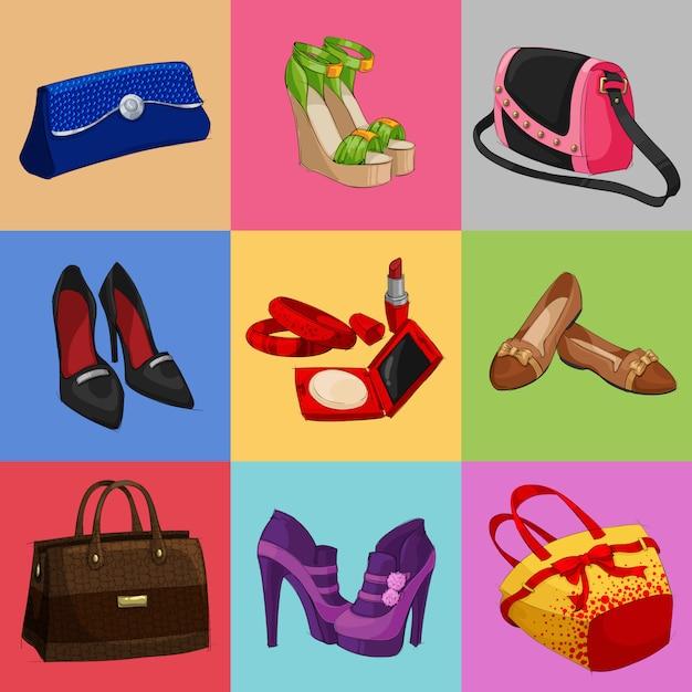 Damen taschen schuhe und accessoires kollektion Kostenlosen Vektoren