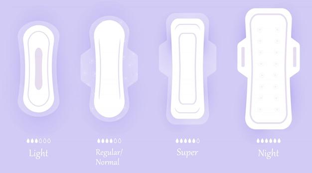 Damenhygienepads. satz symbole lokalisiert auf violettem hintergrund mit schatten. verschiedene größen von damenbindenprodukten für frauen. persönliche hygieneelemente im flachen stil. Premium Vektoren