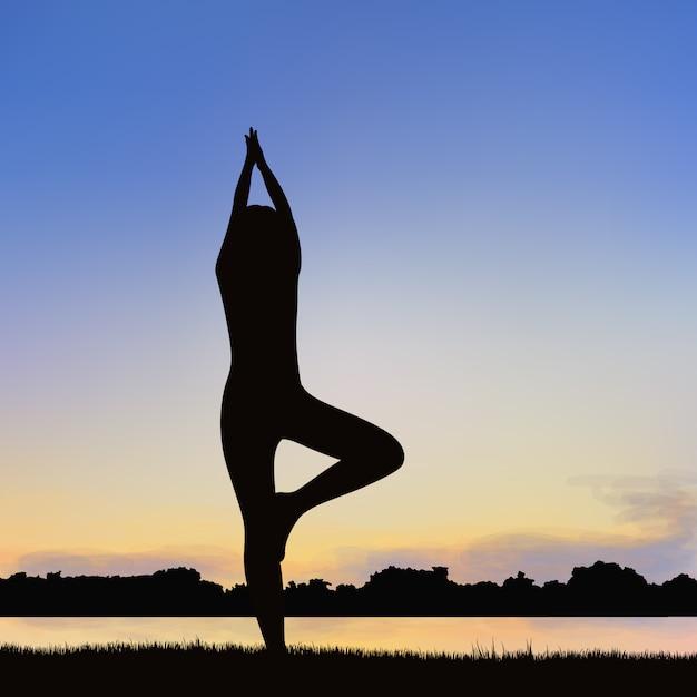 Damenschattenbildbild in der lage von yoga. Premium Vektoren