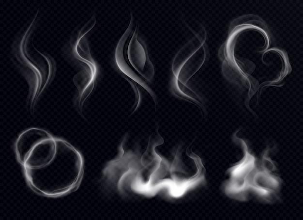 Dampfrauch mit ring und wirbelform realistisches setweiß auf dunklem transparentem hintergrund lokalisiert Kostenlosen Vektoren
