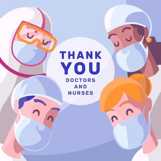 Danke ärzten und krankenschwestern Kostenlosen Vektoren