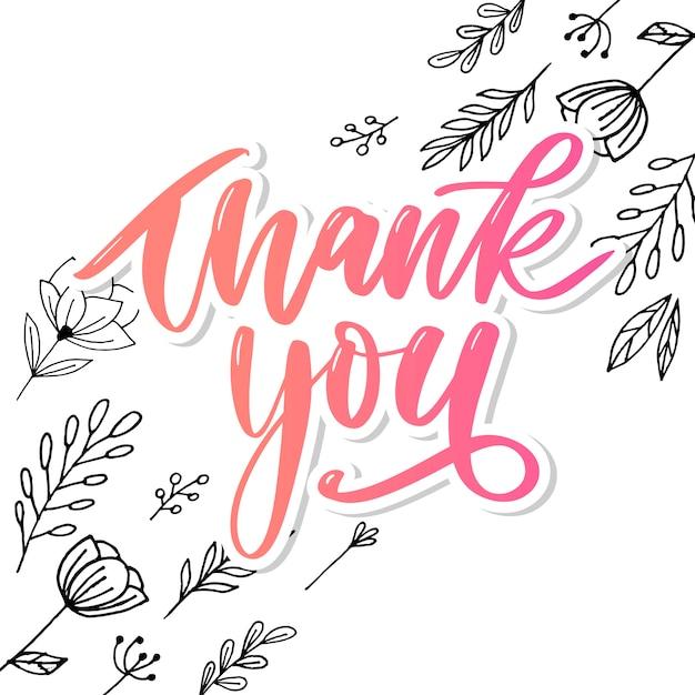 Danke handschriftliche inschrift. handgezeichnete schriftzug. danke kalligraphie. danke dir karte Premium Vektoren