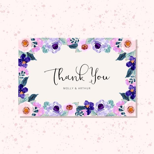 Danke, mit lila blumenaquarellrahmen zu kardieren Premium Vektoren