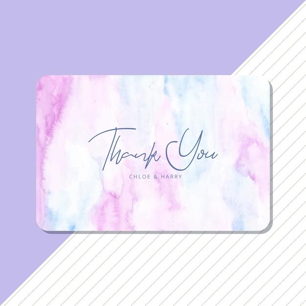 Danke, mit weichem blauem lila aquarellhintergrund zu kardieren Premium Vektoren