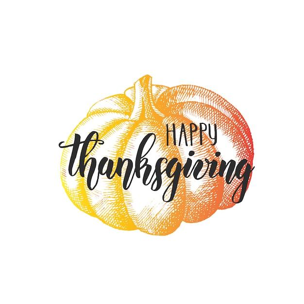 Danken sie mit einem dankbaren herzen - glückliche erntedankfestbeschriftungs-kalligraphiephrase und -kürbis auf weiß Premium Vektoren