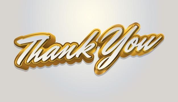 Dankeschön-brief-text in weiß und gold isoliert auf weißem hintergrund Premium Vektoren