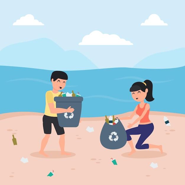 Dargestellter mann und frau, die zusammen den strand säubern Kostenlosen Vektoren