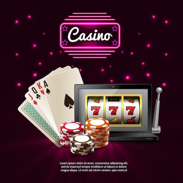 Dark casino realistische komposition Kostenlosen Vektoren