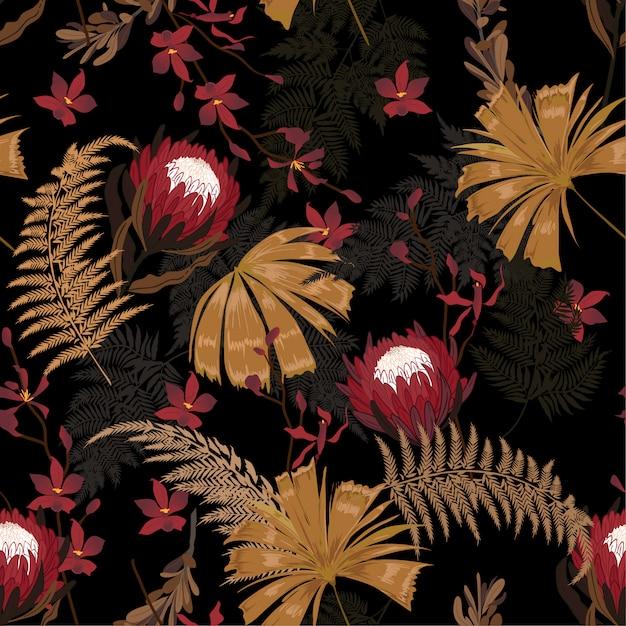 Dark garden protea blumenmuster Premium Vektoren