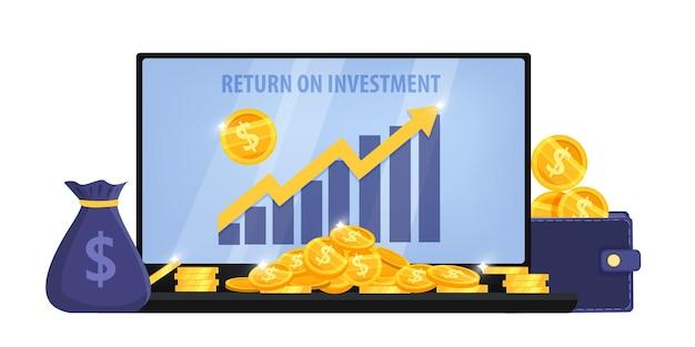 Darstellung des return on investment oder des einkommenswachstums Premium Vektoren