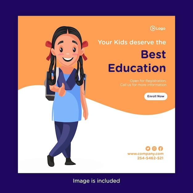 Das bannerdesign ihrer kinder verdient die beste ausbildung Premium Vektoren