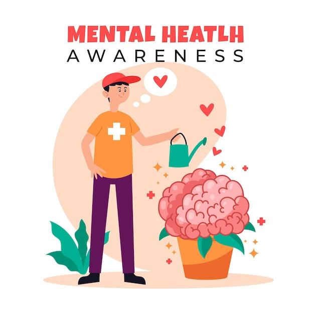 Das bewusstsein für psychische gesundheit kümmert sich um uns Kostenlosen Vektoren