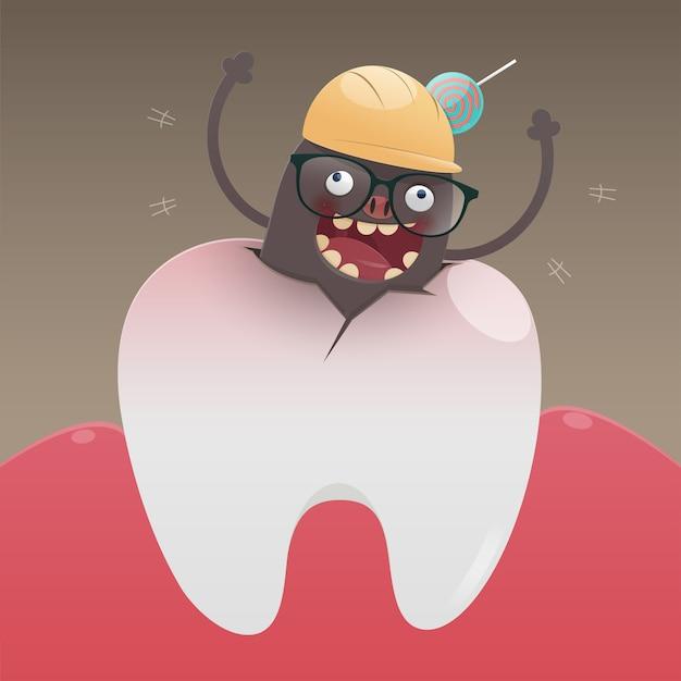 Das böse monster gräbt und beschädigt den zahn Premium Vektoren
