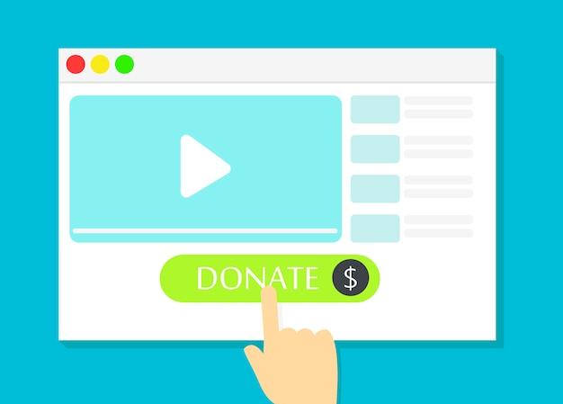 Das browserfenster mit der schaltfläche spenden. geld für videoblogger Kostenlosen Vektoren