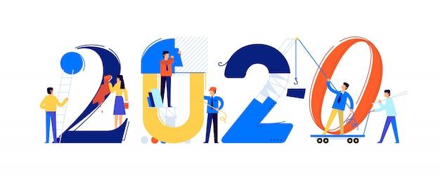 Das büropersonal bereitet sich auf das neue jahr 2020 vor Premium Vektoren