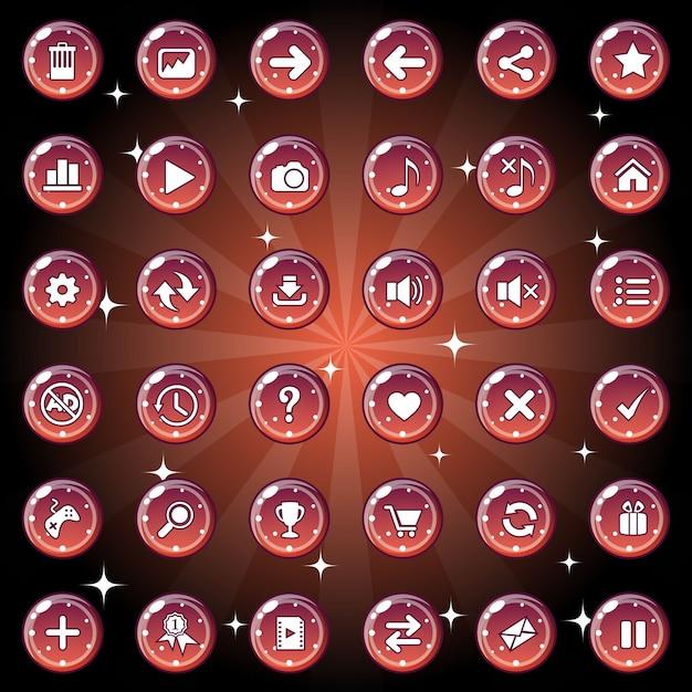 Das design der schaltflächen und symbole für das spiel oder das webthema ist dunkelrot. Premium Vektoren