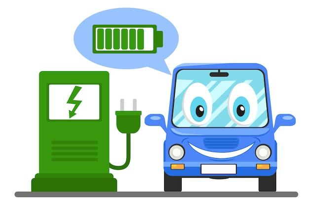 Das elektroauto an der ladestation lächelt und zeigt die geladene batterie. Premium Vektoren