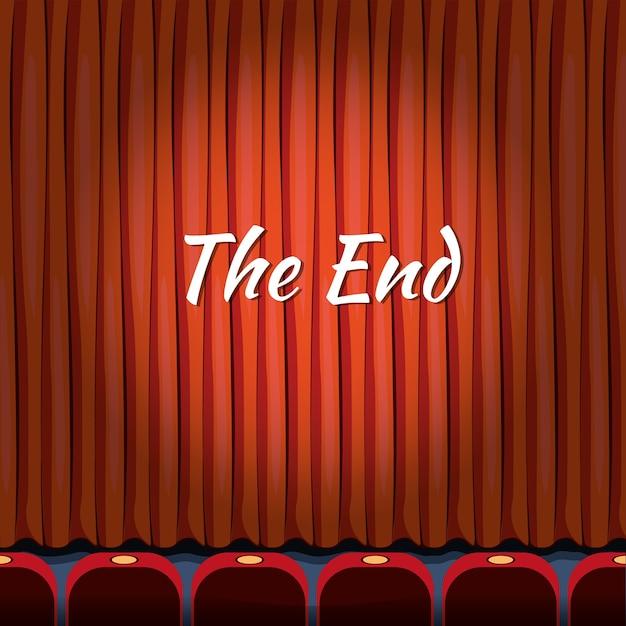 Das ende, schriftzug über rotem vorhang schließen theater, ende oder ende, show oder unterhaltungskonzept Kostenlosen Vektoren