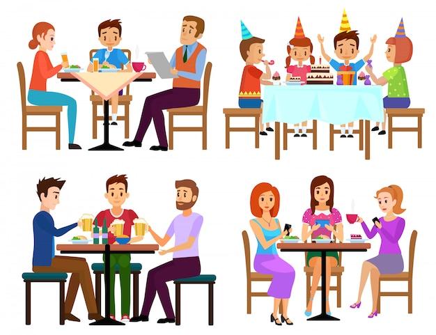 Das essen von erwachsenen und von kindern stellte das sitzen in restaurantcafé oder in bar lokalisierter vektorillustration ein Premium Vektoren