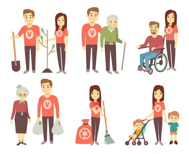 Das freiwillige helfen zu den behindertenvektorcharakteren stellte für das freiwillig erbietenkonzept ein Premium Vektoren