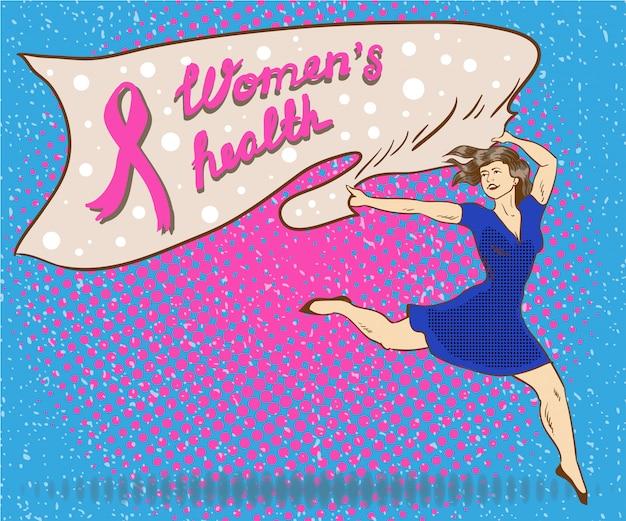 Das gesundheitsplakat der frau in der comic-pop-art-art. frau hält fahne mit brustkrebs-rosabandsymbol Premium Vektoren