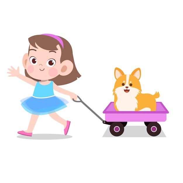 Das glückliche kindermädchen, das lastwagen zieht, spielt haustier Premium Vektoren