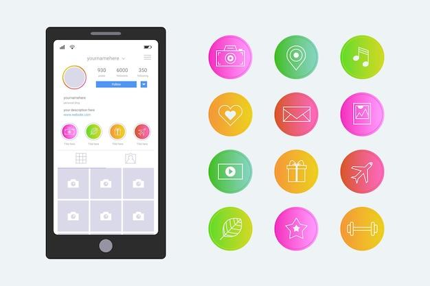 Das gradienten-instagram hebt die sammlung hervor Kostenlosen Vektoren