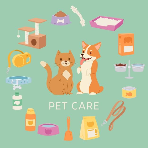 Das haustierpflegeset für den tierladen enthält spielzeug, halsband, futter, cartoon-katze und -hund, schalen und shampoo-illustrationen. Premium Vektoren