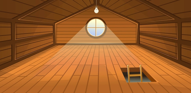 Das hölzerne dachgeschoss mit fenster und treppe. cartoon-illustration. Premium Vektoren