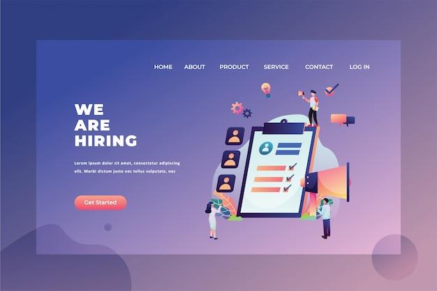 Das hrd-team sucht nach neuen mitarbeitern wir suchen web-header landing page template illustration Premium Vektoren