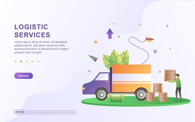 Das illustrationskonzept des logistikdienstes wird schnell und sicher geliefert. Premium Vektoren