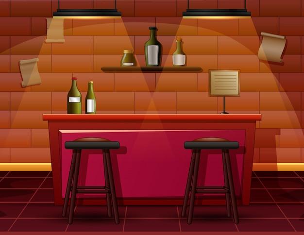 Das innere der bar cafe illustration Premium Vektoren