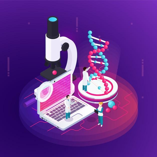 Das isometrische designkonzept der nanotechnologie illustrierte das mikroskopie-notizbuch mit wissenschaftlichen informationen auf dem bildschirm und einem großen bild des dna-modells Kostenlosen Vektoren