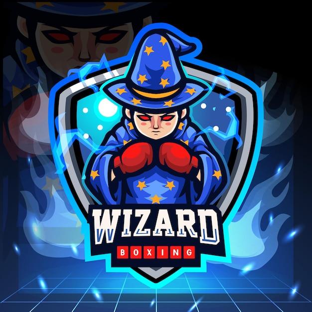 Das kleine zauberer-boxmaskottchen. esport logo design Premium Vektoren