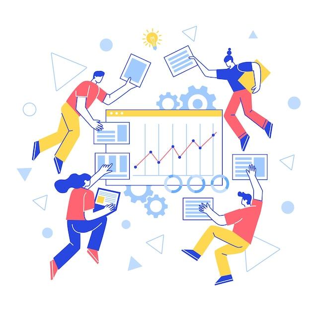 Das konzept der teambildung. zusammenarbeit. vektorzeichen arbeiten zusammen, erstellen eine website. steigern sie die arbeitsproduktivität. Premium Vektoren