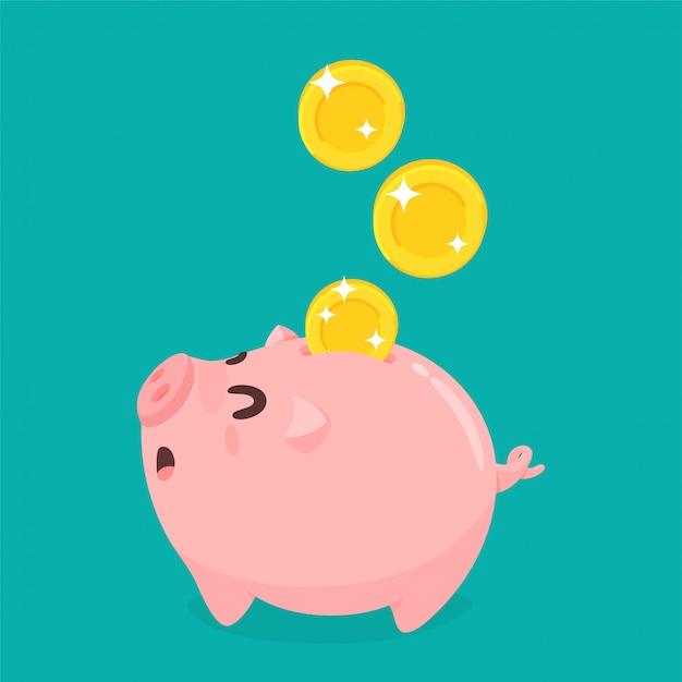 Das konzept des richtigen umgangs mit geld geld sparen für die zukunft. Premium Vektoren