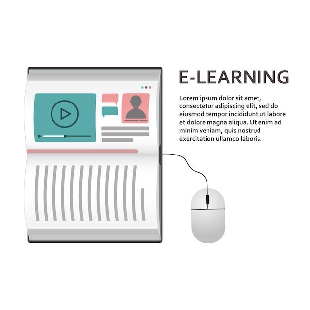 Das konzept eines laptops in form eines buches für fernunterricht. e-learning. Premium Vektoren