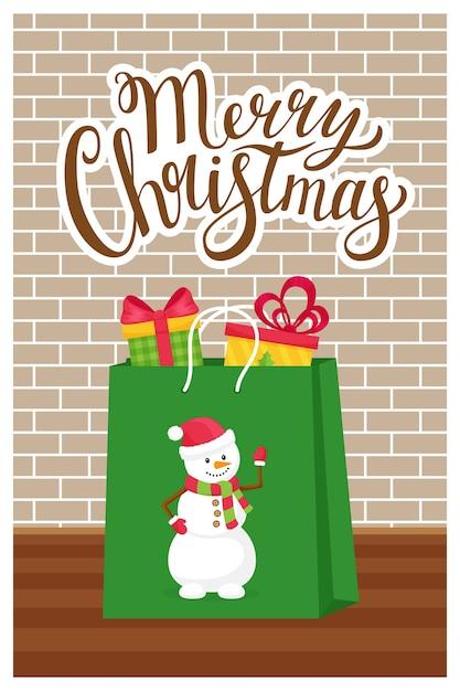 Das konzept eines neuen jahres, weihnachtsgrußkarte mit den worten frohe weihnachten. Premium Vektoren