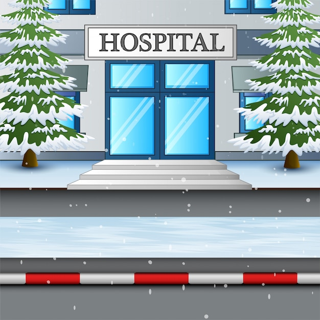 Das krankenhausgebäude in der schneewinterillustration Premium Vektoren