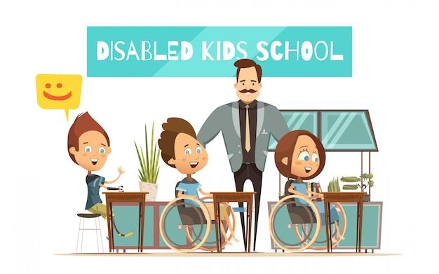 Das lernen von behinderten kindern gestaltet mit jungenmädchen an den schreibtischen und an der lächelnden lehrerkarikatur Kostenlosen Vektoren