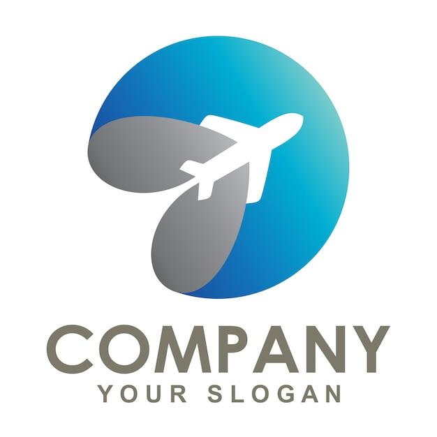 Das logo des flugzeugs umkreiste die erde Premium Vektoren