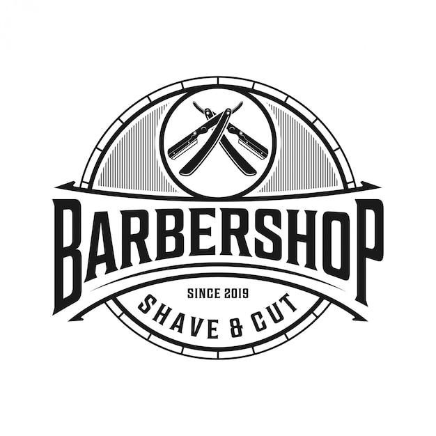 Das logo für friseursalon im vintage-stil Premium Vektoren
