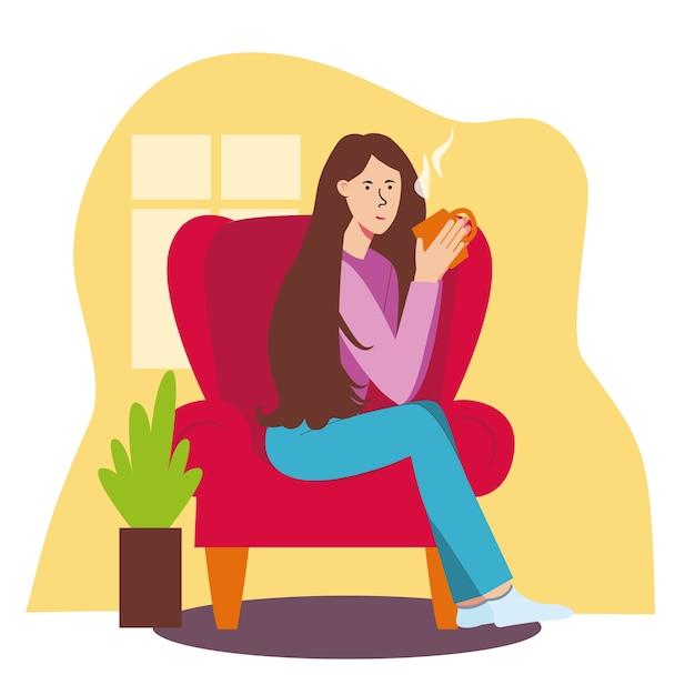 Das mädchen sitzt auf einem roten stuhl und trinkt tee. wohnzimmer, haus, entspannung mit einer tasse tee oder kaffee. Premium Vektoren
