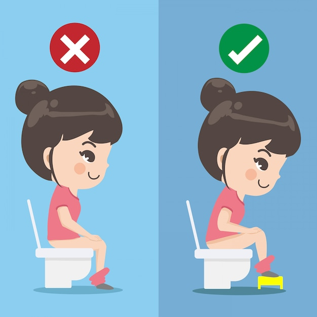 Das mädchen zeigt, wie man richtig im toilettensitz sitzt. Premium Vektoren