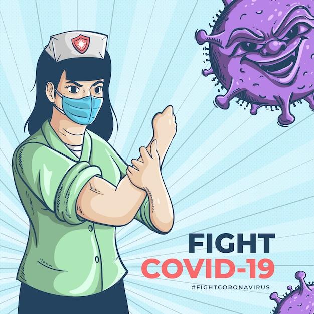 Das medizinische personal, der wahre held, kämpft um das coronavirus Premium Vektoren