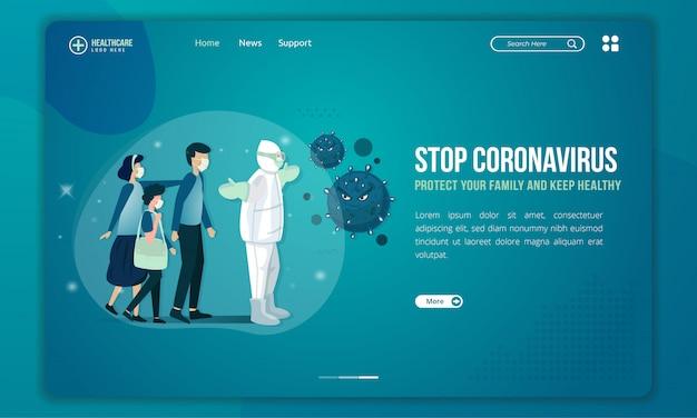 Das medizinische team versucht, das coronavirus zu stoppen und die illustration der familien auf der zielseite zu schützen Premium Vektoren
