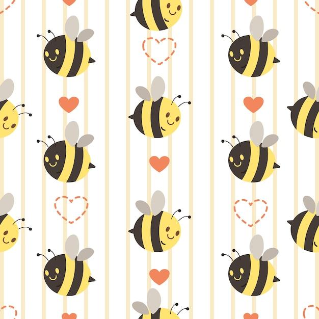 Das nahtlose muster der niedlichen gelben und schwarzen biene mit herzen. der charakter der süßen biene mit herz. der charakter der netten biene in der flachen vektorart. Premium Vektoren