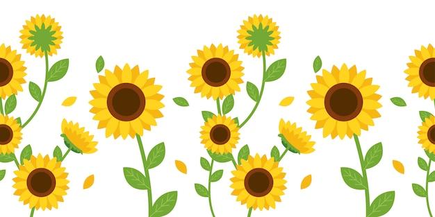 Das nahtlose muster der sonnenblume und des blattes Premium Vektoren